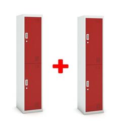 Zweitüriger schrank, 1800 x 380 x 450 mm, grau/rot, 1+1 gratis