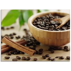 Artland Glasbild Feine Kaffeebohnen mit Zimt, Getränke (1 Stück) 80 cm x 60 cm x 1,1 cm