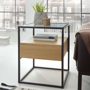 Couch Beistelltisch mit Klarglasplatte einer Schublade