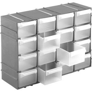 Kigima Sortierkasten Kleinteilemagazin 16 Fächer 22x15x8cm Silber
