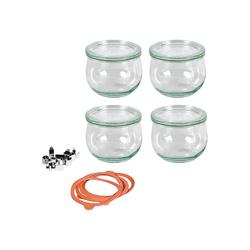 Weck Einmachglas 4er-Set Einweckgläser Tulpenglas-Form 0,5l, mit