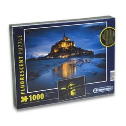 Clementoni® Steckpuzzle Puzzle - Le Mont Saint-Michel (fluoreszierend, 1000 Teile), 1000 Puzzleteile