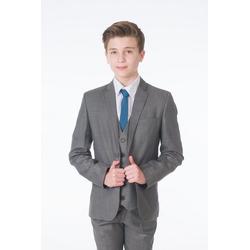 Melli-Trends Anzug 5-teilig Premium Jungen Anzug, 5-telig, grau (Set: Sakko, Hose, Weste, Hemd und Krawatte) Slim Fit, Modern, Hochzeitsanzug 92