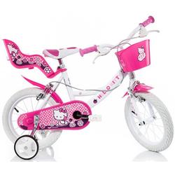 Hello Kitty Kinderfahrrad Hello Kitty, mit Lenkerkorb + Puppensitz rosa 30 cm