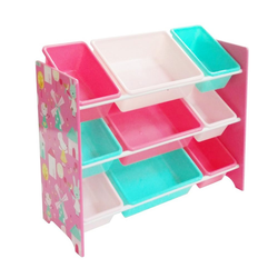 """style home Aufbewahrungsbox, Kinderregal mit 9 Kunststoffboxen Aufbewahrungsbox Spielzeugregal Kinderzimmer Bücherregal """"Hase und Windmühle"""", 84 x 60 x 30 cm"""