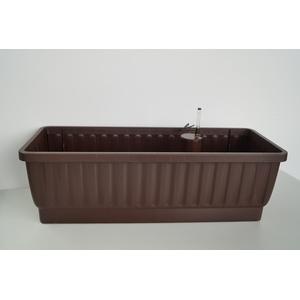 Balkonkasten VENEZIA 60cm mit Wasserspeicher-System und Wasserstandsanzeiger, Farbe: dunkelbraun