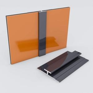 Duschrückwand-Profilsystem Verbindungsprofil Aluprofil Aluminiumprofil für 3mm Duschrückwand Küchenspiegel 300cm anthrazit