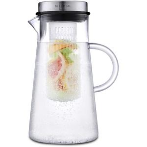 SILBERTHAL Glaskaraffe mit Fruchteinsatz 2 Liter - Wasserkaraffe mit Deckel - Spülmaschinenfest