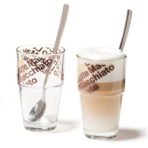 LEONARDO Latte-Macchiato-Glas Café Latte mit Löffeln 4er-Set Solo (4-tlg)