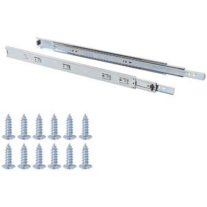 Amazon Basics - Schubladenschienen mit Kugellager, 55,9 cm, Vernickelter Stahl, 2er-Pack