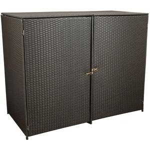 gartenmoebel-einkauf Mülltonnenbox für 2X Tonnen bis 120 Liter, 130x66x110cm, Stahl + Polyrattan Geflecht Mocca