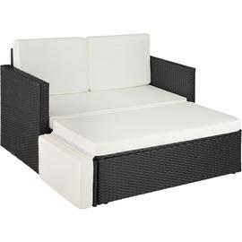 Tectake Korfu Rattan Lounge Variante 2 schwarz