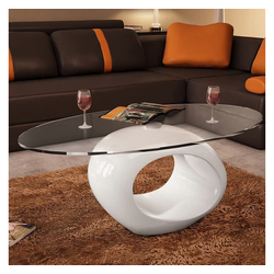 vidaXL Couchtisch vidaXL Couchtisch mit ovaler Glasplatte Hochglanz Weiß