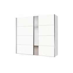 Express Solutions Schwebetürenschrank mit Spiegel weiß 200 cm x 216 cm x 68 cm