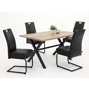 Esszimmereinrichtung in Schwarz und Wildeichefarben 140 cm Tisch (5-teilig)