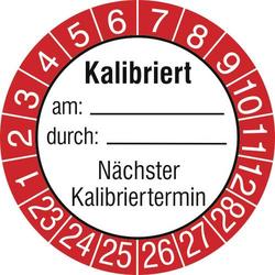 SafetyMarking 15 St. Prüfplakette Kalibriert am: durch: Nächster Kalibriertermin 2023-2028 Rot Fol
