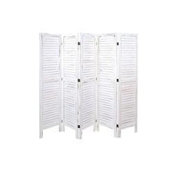 MCW Paravent MCW-G30-200, 5-teiliger Paravent, Fensterladenoptik weiß