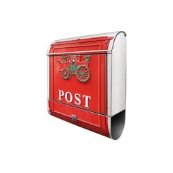 banjado Briefkasten Motiv Postkasten Nostalgie silberfarben 38 cm x 13 cm x 47 cm