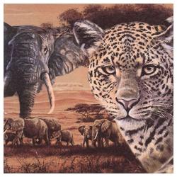 Linoows Papierserviette 20 Servietten Afrika, Leopard und Elefanten in, Motiv Afrika, Leopard und Elefanten in der Savanne