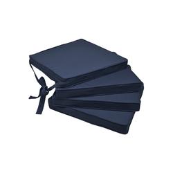 Beautissu Stuhlkissen Loft SK, 4er Set Sitzkissen 45x40x5cm blau