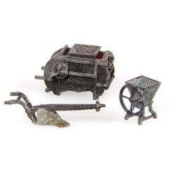 MBZ 30269 H0 3er-Set Landwirtschaftliche Geräte Fertigmodell, Unbemalt