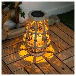 etc-shop LED Dekolicht, Solarleuchte Laterne Solarlampe Aussen mit LED Kerze Solarlaterne für Außen hängend Korb Design, mit flackerndem Lichteffekt, 1x LED Akku, H 27 cm