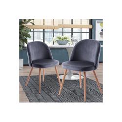 Merax Esszimmerstuhl Sicilia (2 Stück), 2er Set Küchenstuhl Polsterstuhl Samt Stuhl mit Rücklehne grau
