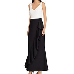 Lauren Ralph Lauren Abendkleid LAUREN RALPH LAUREN Abendkleid feminines Damen Ballkleid mit Weißem Top Mode-Kleid Schwarz 42