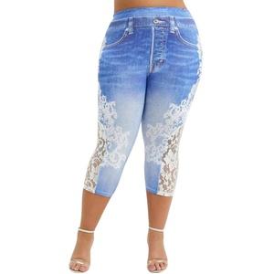 Yowablo Leggings Frauen Plus Size Lace Printing Splice Mode elastische Taille Freizeithosen (XL,3Hellblau)