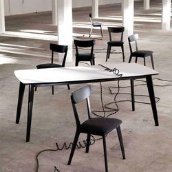 Esstisch in Schwarz Weiß Ansteckplatten