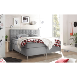 Black Red White Boxspringbett Victoria 3 in grau