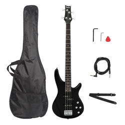 Glarry E-Bass GIB, Elektrobass E Bass E-bass Bassgitarre Longscale 4 Saiter Schwarz Mit Tasche