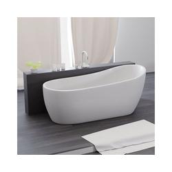 TroniTechnik Badewanne Freistehende Badewanne Kasos, (1-tlg), aus glasfaserversärktem Acryl, mit Überlauf-Ablauf und Push-to-open Abfluss