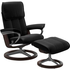 Stressless® Relaxsessel Admiral (Set, Relaxsessel mit Hocker), mit Hocker, mit Signature Base, Größe M & L, Gestell Wenge schwarz 93 cm x 113 cm x 79 cm