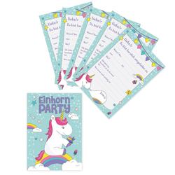 6 Einladungskarten Kindergeburtstag Einhorn Party Einladungen