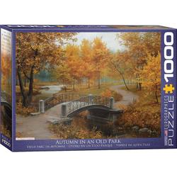 empireposter Puzzle Die Brücke im herbstlichen Park - 1000 Teile Puzzle im Format 68x48 cm, Puzzleteile