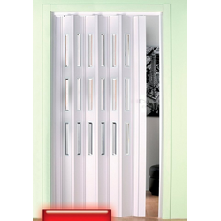 Falttür, Höhe nach Maß, weiß mit Fenstern im Facettenschliff 135 cm