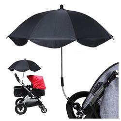 Favson Sonnenschirm Universal Sonnenschirm Sonnenschutz für Kinderwagen & Buggy 75CM Sonnenschirm 360° verstellbar für Rund- oder Ovalrohr Regenschirm Kinderwagen Biegsamer Schirm