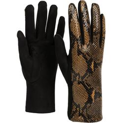 styleBREAKER Strickhandschuhe Stoff Handschuhe in Schlangenleder Optik braun
