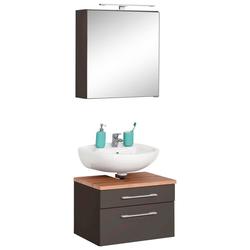 HELD MÖBEL Badmöbel-Set Davos, (2-tlg), Spiegelschrank und Waschbeckenunterschrank grau