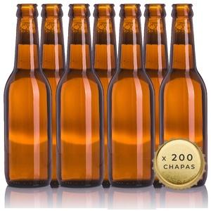 TAPAS & ENVASES RIOJA Leere Bierflaschen 33 cl wiederverwendbar mit Blech im Lieferumfang enthalten | Set mit 20 Flaschen und 200 Blechen zum Herstellen von selbstgemachten Bier | Flaschenflasche
