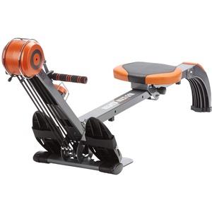 skandika Rudergerät Regatta Multi Gym Poseidon, Geräusch-/Wartungsarmes Bremssystem über Polyfiber Zugsystem, zusammenklappbar, Multifunktionstrainingscomputer (orange/grau)