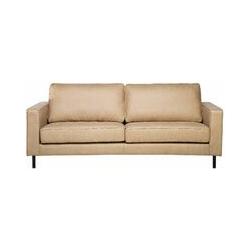 Sofa 3-Sitzer Lederoptik modernes Ledersofa in Beige Couchsofa Wohnzimmersofa Savalen