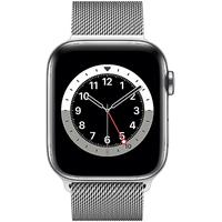 Apple Watch Series 6 GPS + Cellular 44 mm Edelstahlgehäuse silber, Milanaise Armband silber