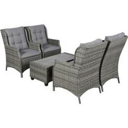 Oris Polyrattan Sitzgruppe 4+1 grau Sofa Gartenmöbel Tisch Stuhl Essgruppe