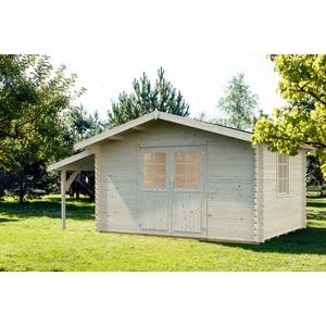 34 mm Gartenhaus + Schleppdach + Fußboden 550x300cm Gerätehaus Holzhaus Holz