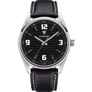 Junkers Professor Analog Quarz Uhr Lederarmband Saphirglas Ziffern schwarz 9.32.01.02