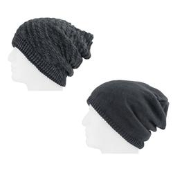 XXL Beanie Mütze zweiseitig Damen Herren Winter Mütze - hard coal-grey