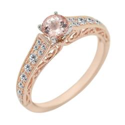 Verlobungsring im Vintage-Stil mit Morganit und Diamanten Karely