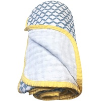 Motherhood Baumwoll-Musselin Babydecke, 2-lagig, 95x110cm, vorgewaschen, blau classics